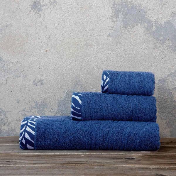 Πετσέτες Μπάνιου (Σετ 3τμχ) Nima Bath Braga Navy Blue