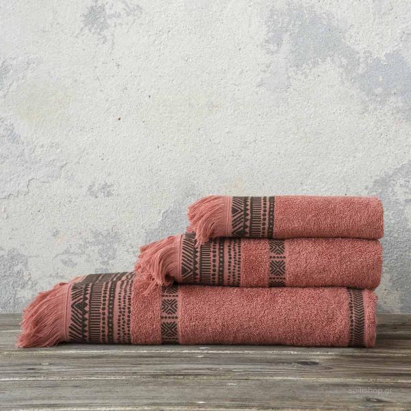 Πετσέτες Μπάνιου (Σετ 3τμχ) Nima Bath Lamari Terracotta