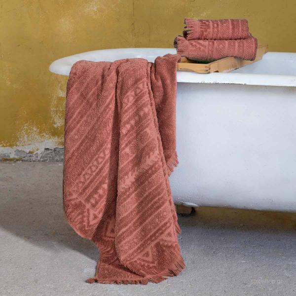 Πετσέτες Μπάνιου (Σετ 3τμχ) Nima Bath Mindelo Terracotta