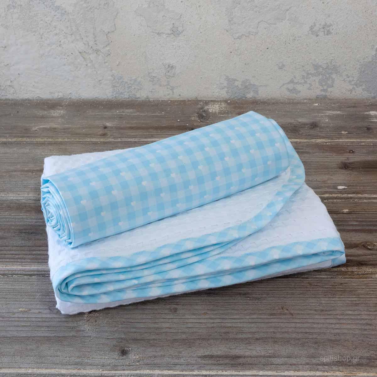 Κουβέρτα Πικέ Κούνιας + Σεντόνι (Σετ) Nima Baby Sweetie Blue