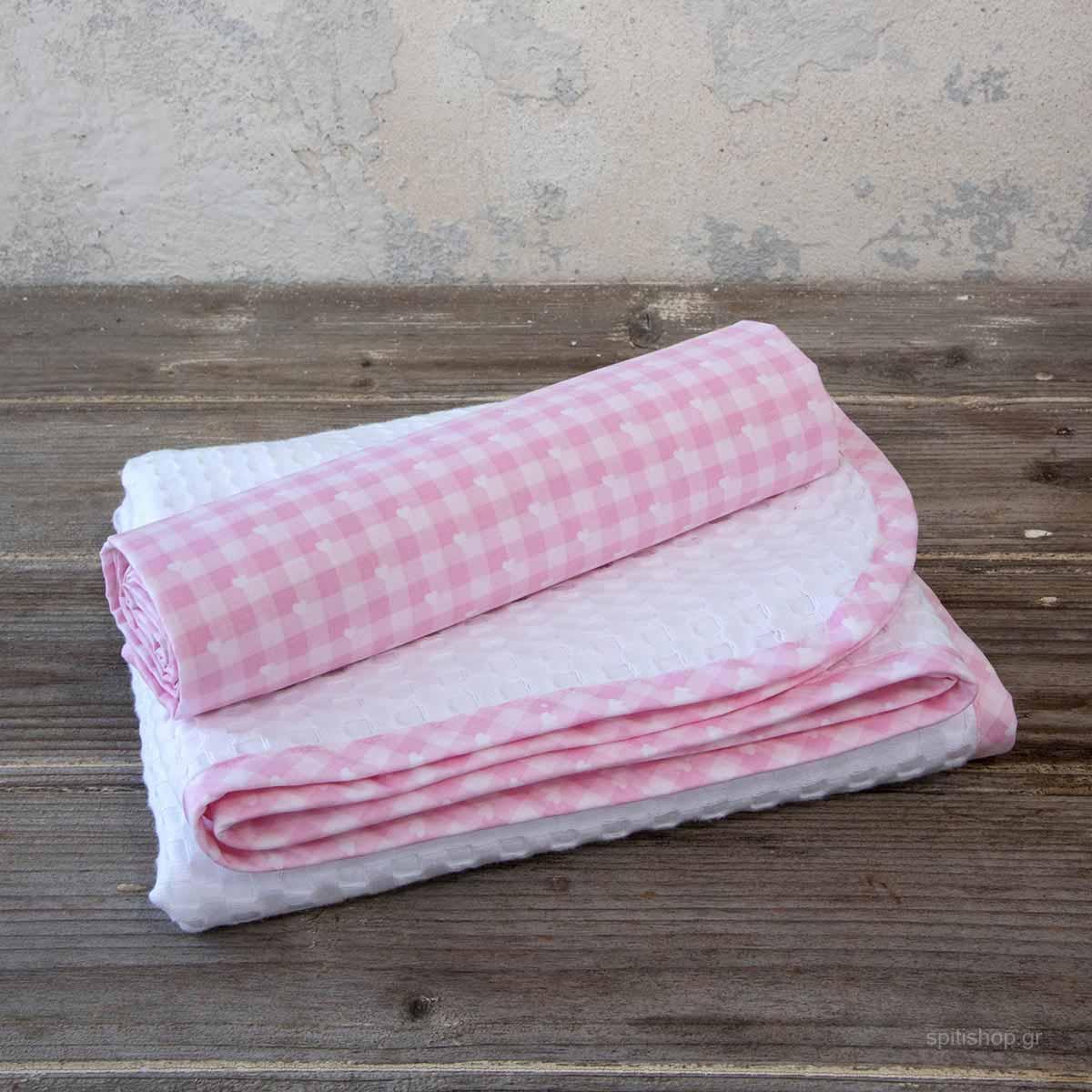 Κουβέρτα Πικέ Κούνιας + Σεντόνι (Σετ) Nima Baby Sweetie Pink