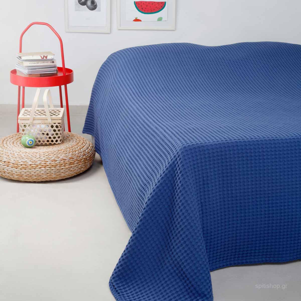 Κουβέρτα Πικέ King Size Melinen Patmos Blue