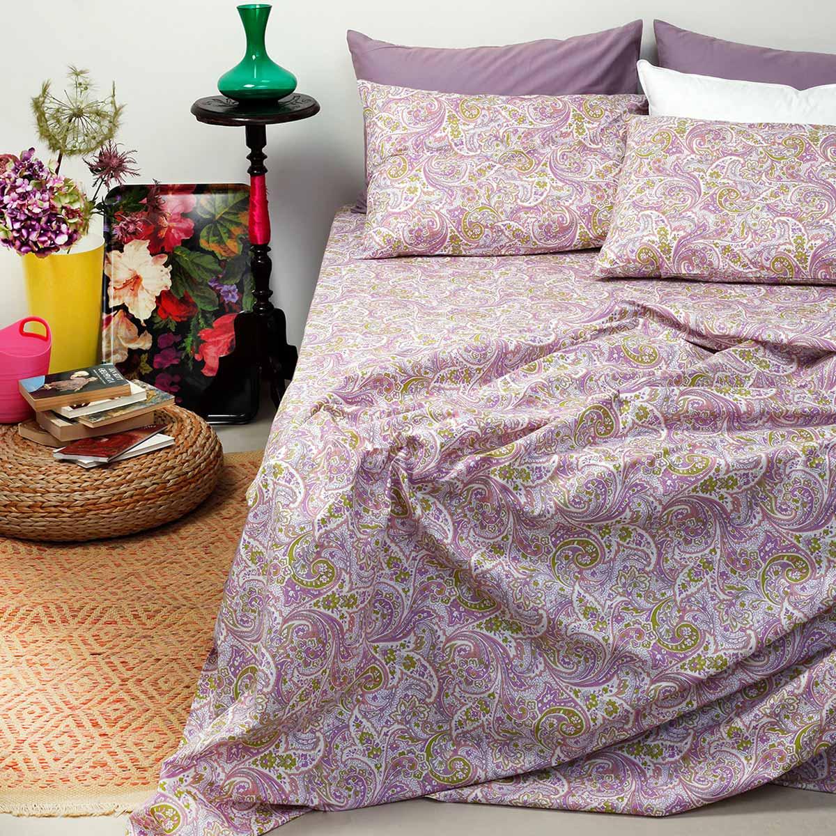 Σεντόνια Υπέρδιπλα (Σετ 240×260) Melinen Ultra Paisley Violet
