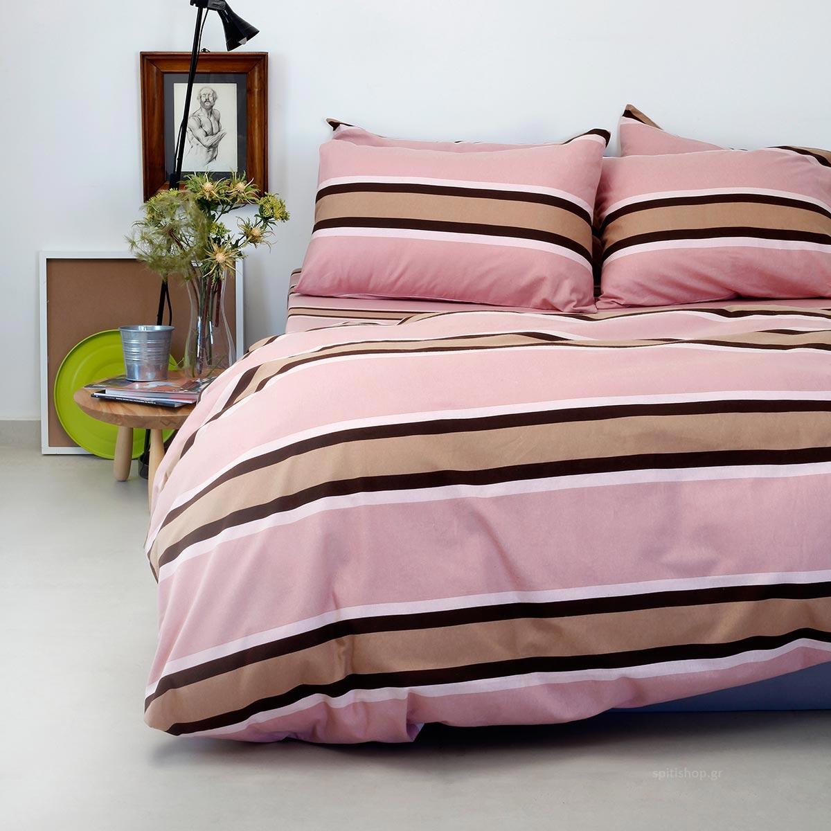 Φανελένιο Σεντόνι Υπέρδιπλο Με Λάστιχο Melinen Stripe Rose