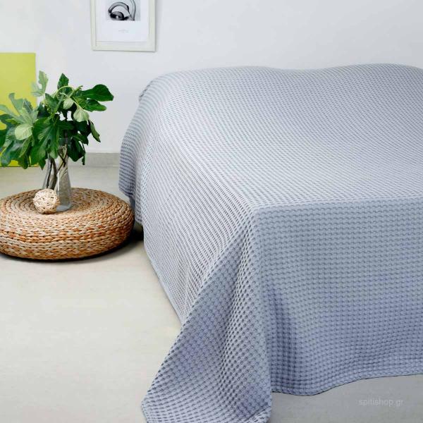 Κουβέρτα Πικέ Μονή Melinen Patmos Light Grey