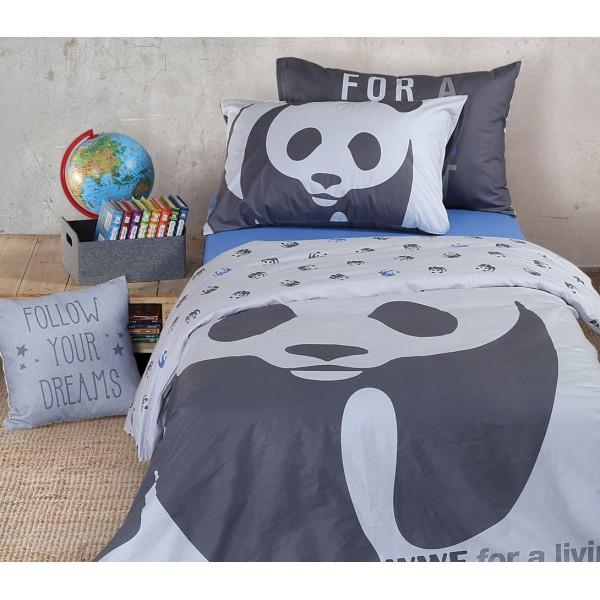 Παπλωματοθήκη Μονή (Σετ) Nef-Nef Kid Line WWF Panda Grey