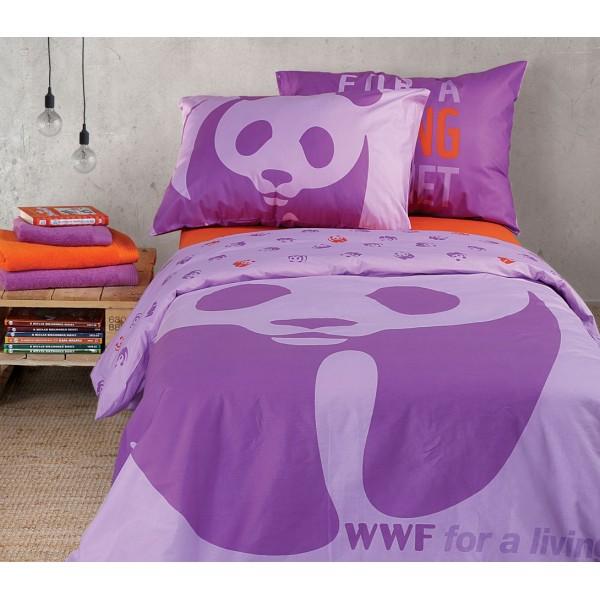 Παπλωματοθήκη Μονή (Σετ) Nef-Nef Kid Line WWF Panda Lilac