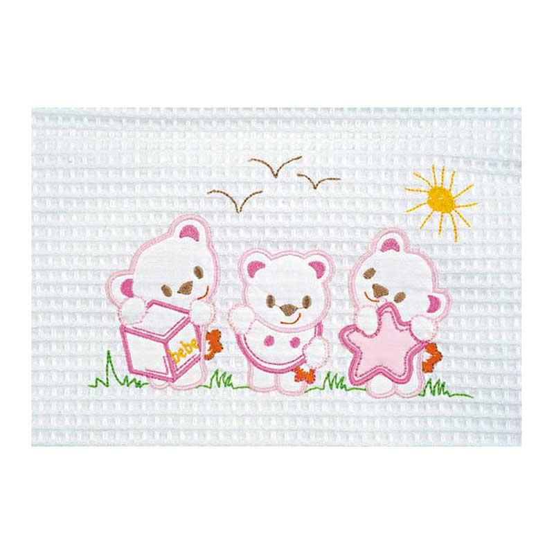 Κουβέρτα Πικέ Αγκαλιάς AdamHome Bear White/Pink