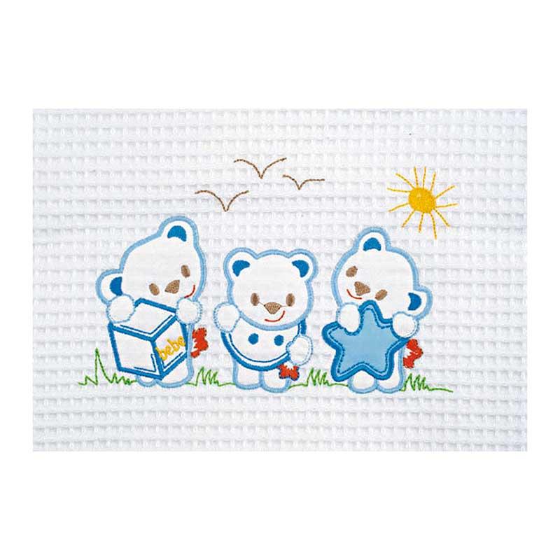 Κουβέρτα Πικέ Κούνιας AdamHome Bear White/Blue