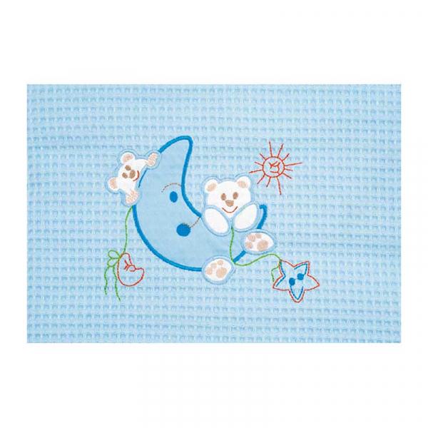 Κουβέρτα Πικέ Αγκαλιάς AdamHome Moon Blue