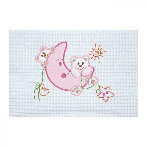 Κουβέρτα Πικέ Αγκαλιάς AdamHome Moon White/Pink