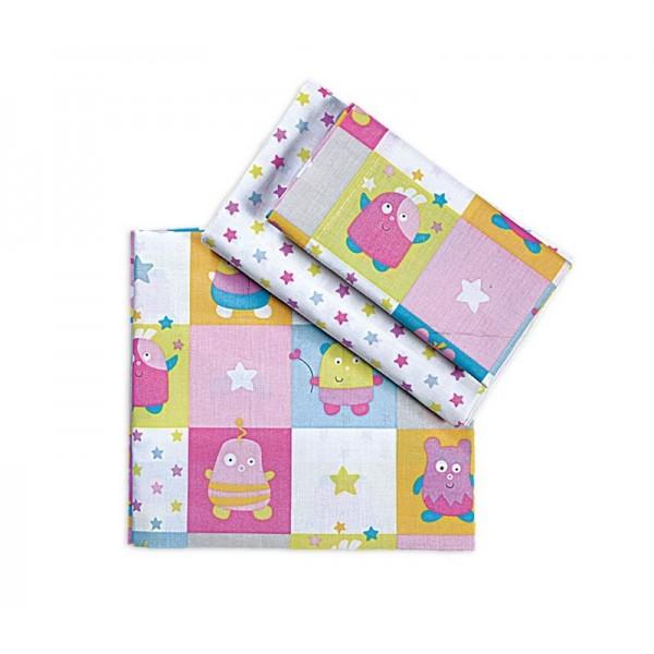 Σεντόνια Κούνιας (Σετ) Nef-Nef Baby Happy Monsters Pink