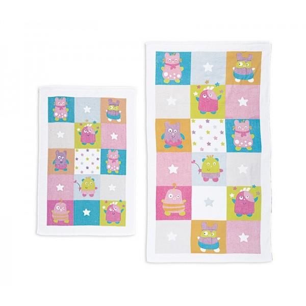 Βρεφικές Πετσέτες (Σετ 2τμχ) Nef-Nef Baby Happy Monsters Pink