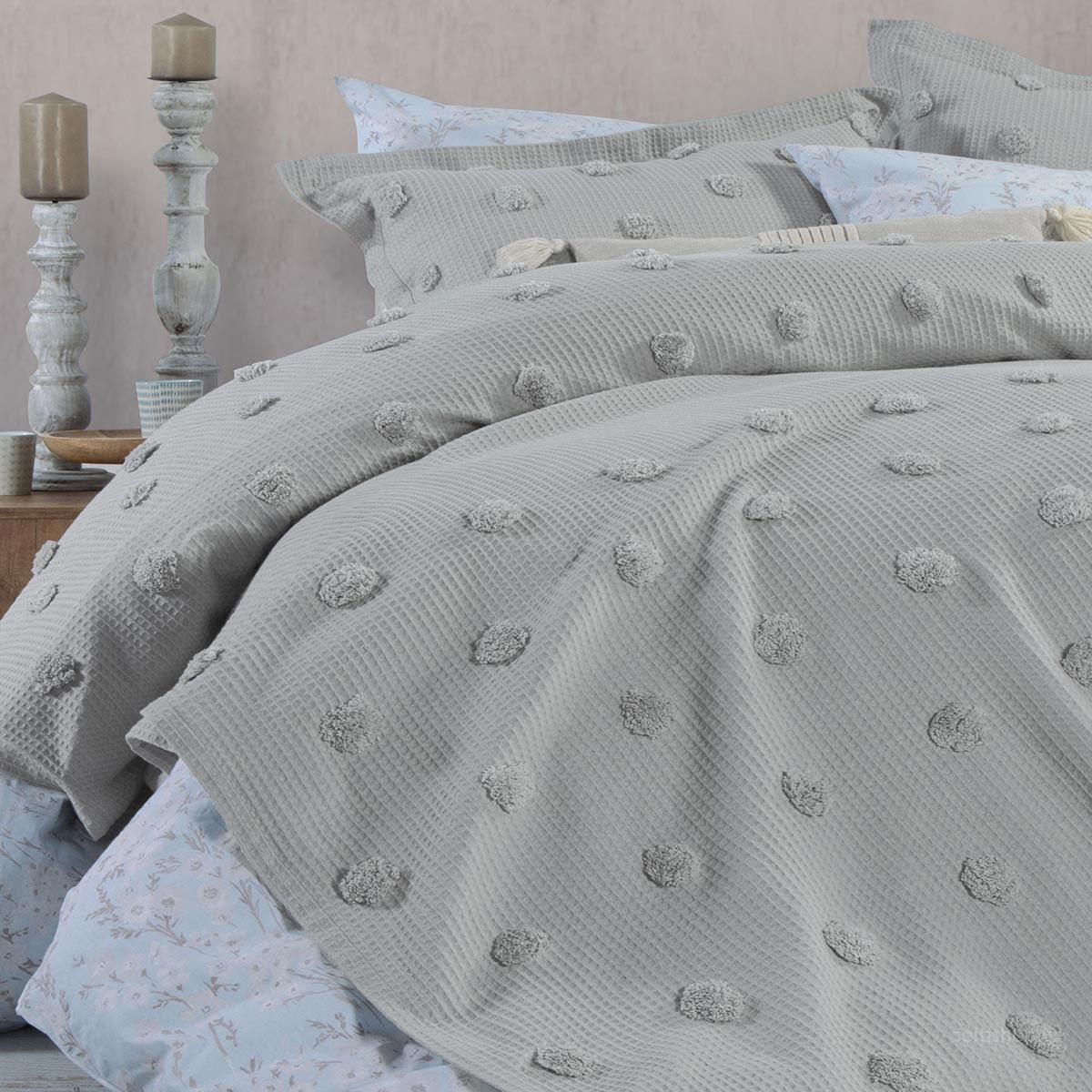 Κουβέρτα Πικέ Υπέρδιπλη Nef-Nef Indila L.Grey