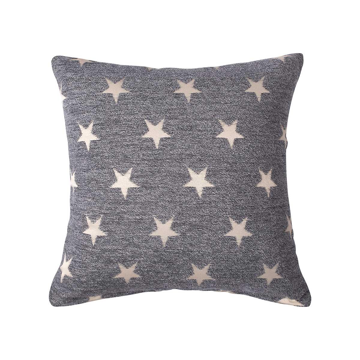 Διακοσμητική Μαξιλαροθήκη (45x45) Silk Fashion A802 Star Γκρι