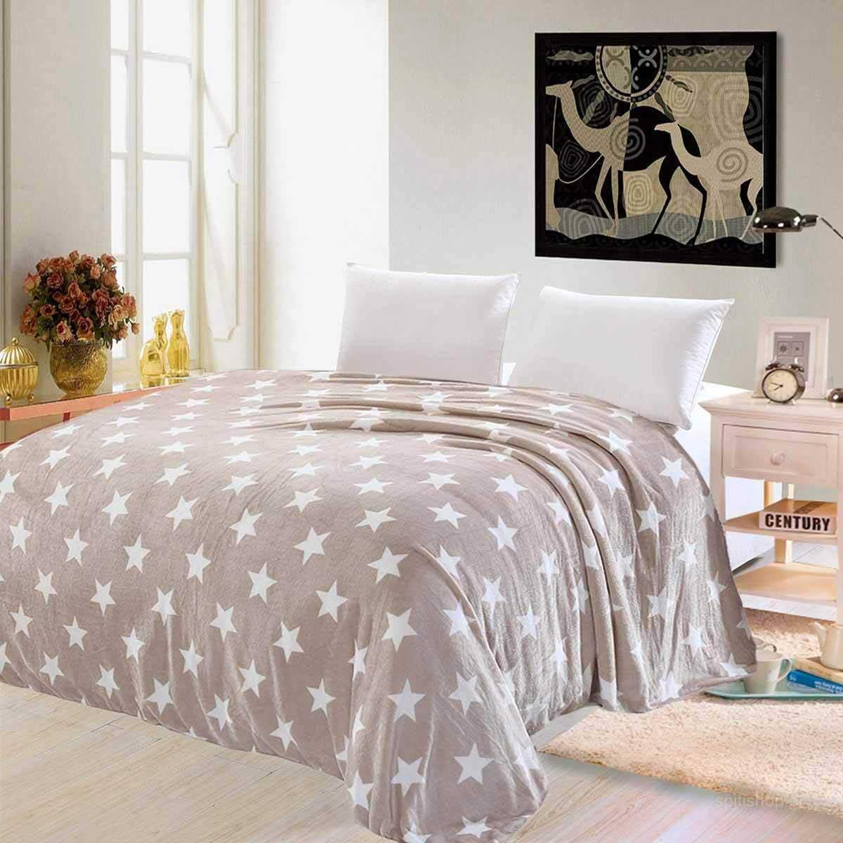Κουβέρτα Fleece Υπέρδιπλη Silk Fashion Star Flannel Coffee