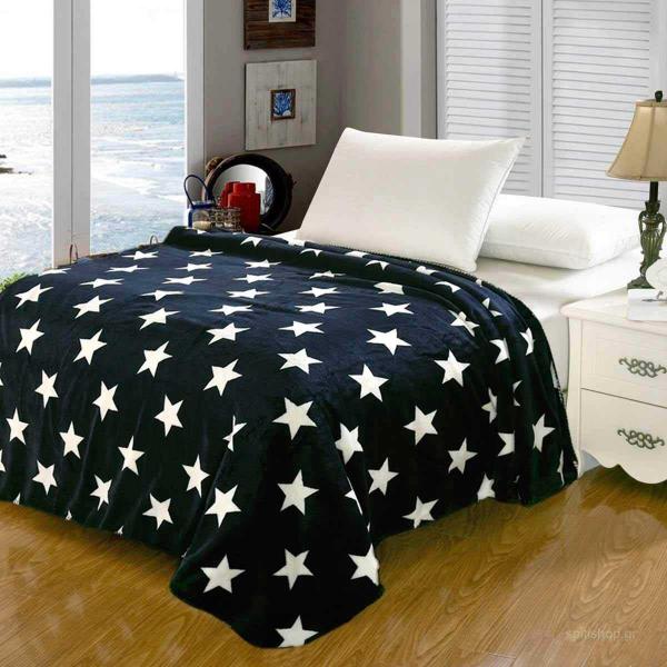 Κουβέρτα Fleece Υπέρδιπλη Silk Fashion Star Flannel Navy