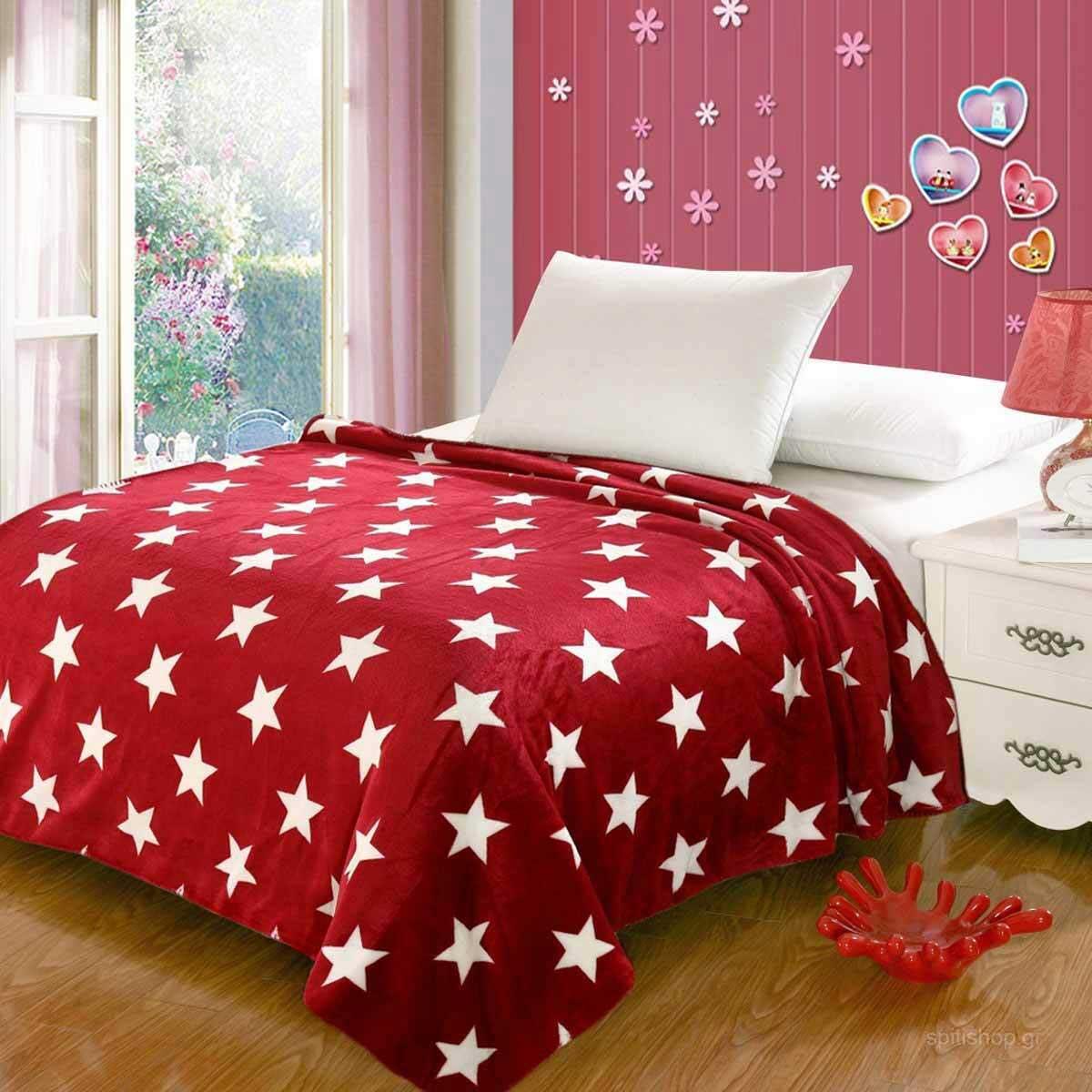 Κουβέρτα Fleece Υπέρδιπλη Silk Fashion Star Flannel Red