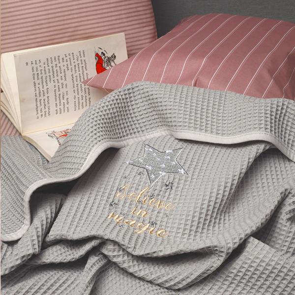Κουβέρτα Πικέ Αγκαλιάς Melinen Riviera Stars Grey