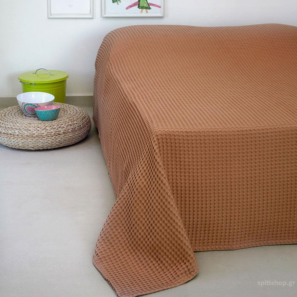 Κουβέρτα Πικέ Μονή Melinen Patmos20 Terracotta