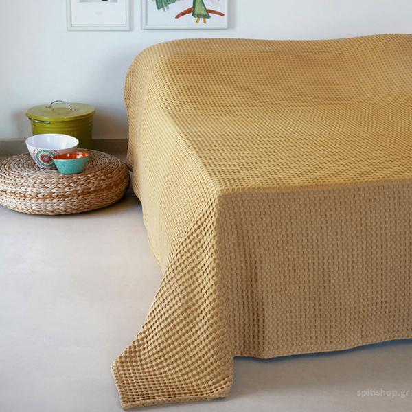 Κουβέρτα Πικέ Υπέρδιπλη Melinen Patmos20 Mustard