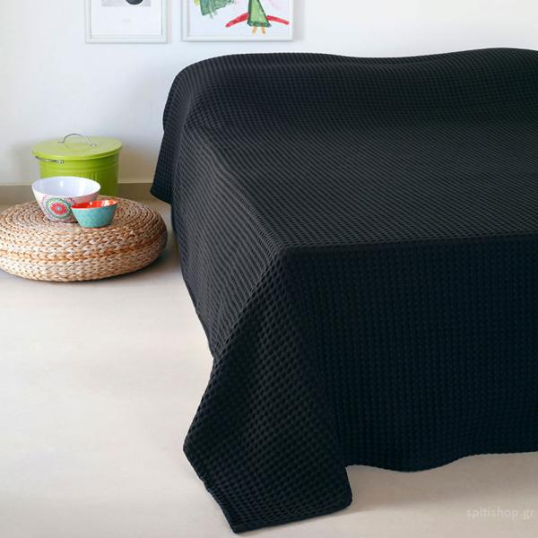 Κουβέρτα Πικέ Υπέρδιπλη Melinen Patmos20 Black