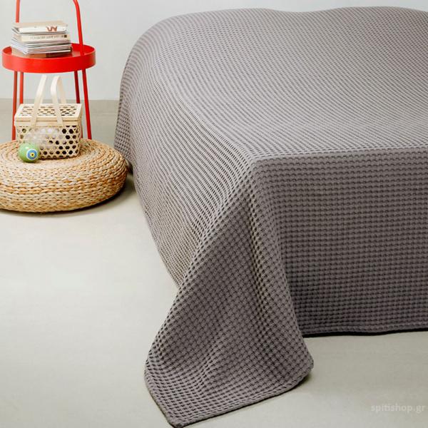 Κουβέρτα Πικέ Υπέρδιπλη Melinen Patmos20 Dark Grey