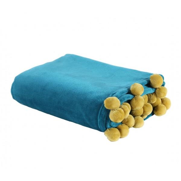 Κουβέρτα Καναπέ Nef-Nef Pom-Pom Petrol