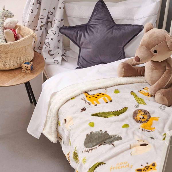 Κουβέρτα Fleece Κούνιας Με Γουνάκι Palamaiki Zoo