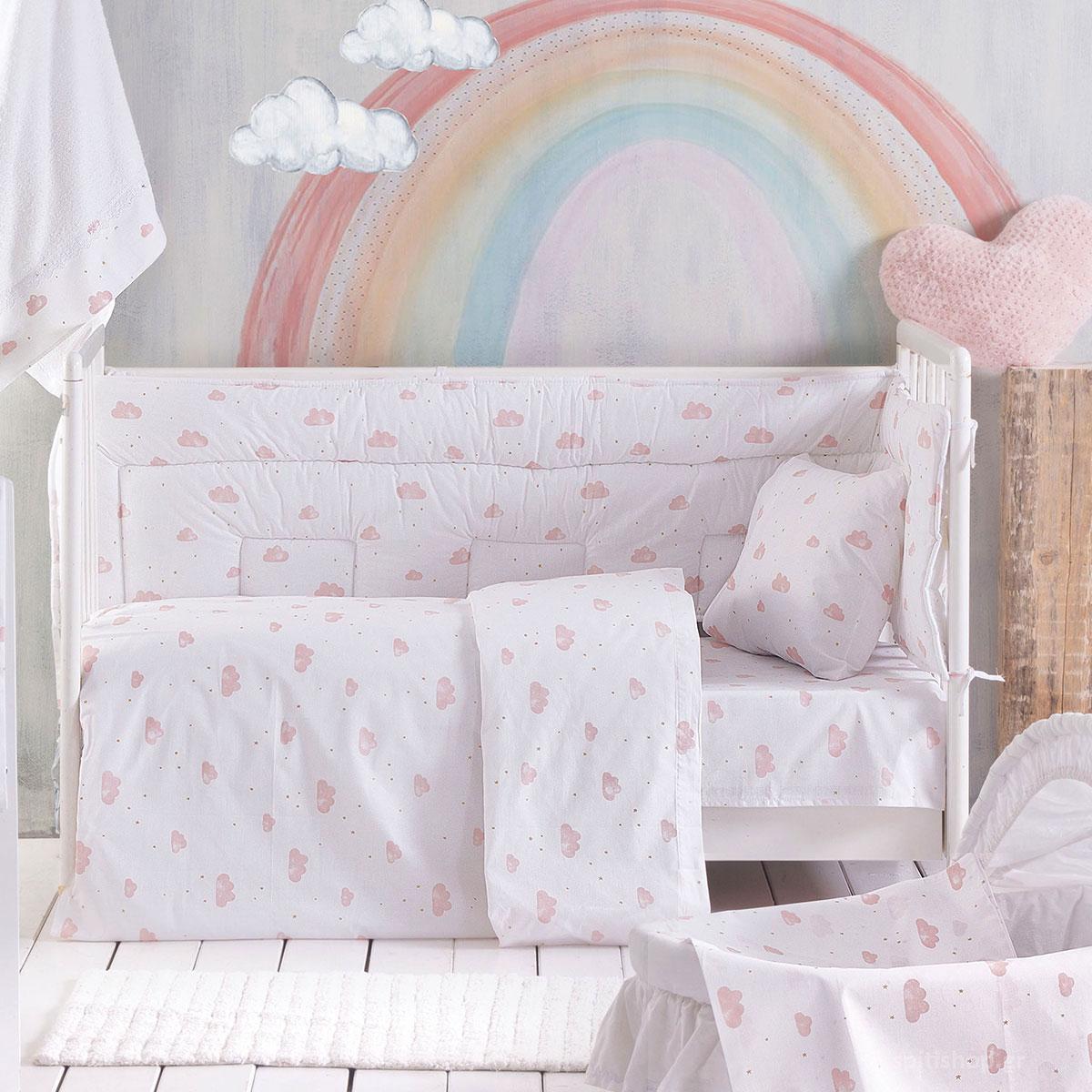 Σεντόνια Κούνιας (Σετ) Rythmos Baby Clouds Pink