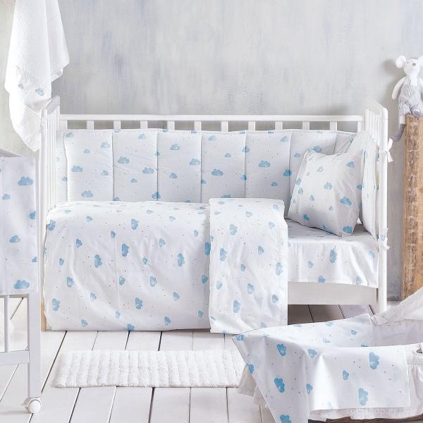 Σεντόνια Κούνιας (Σετ) Rythmos Baby Clouds Blue