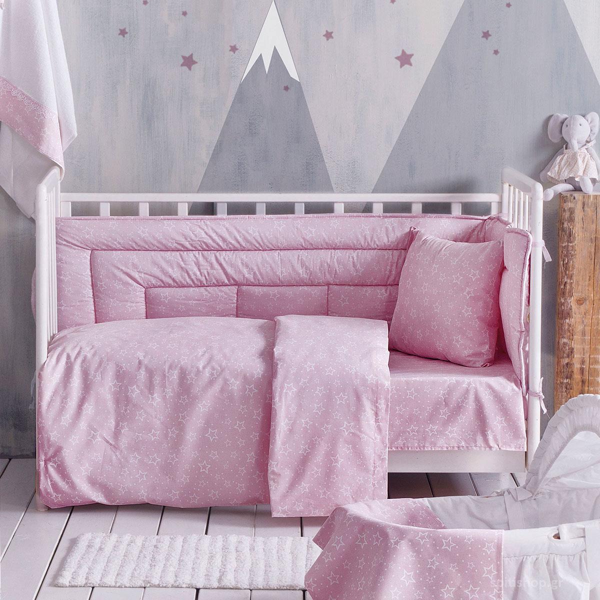 Σεντόνια Κούνιας (Σετ) Rythmos Baby Bright Pink