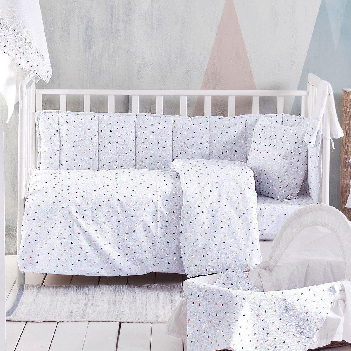 Σεντόνια Κούνιας (Σετ) Rythmos Baby Confetti Grey