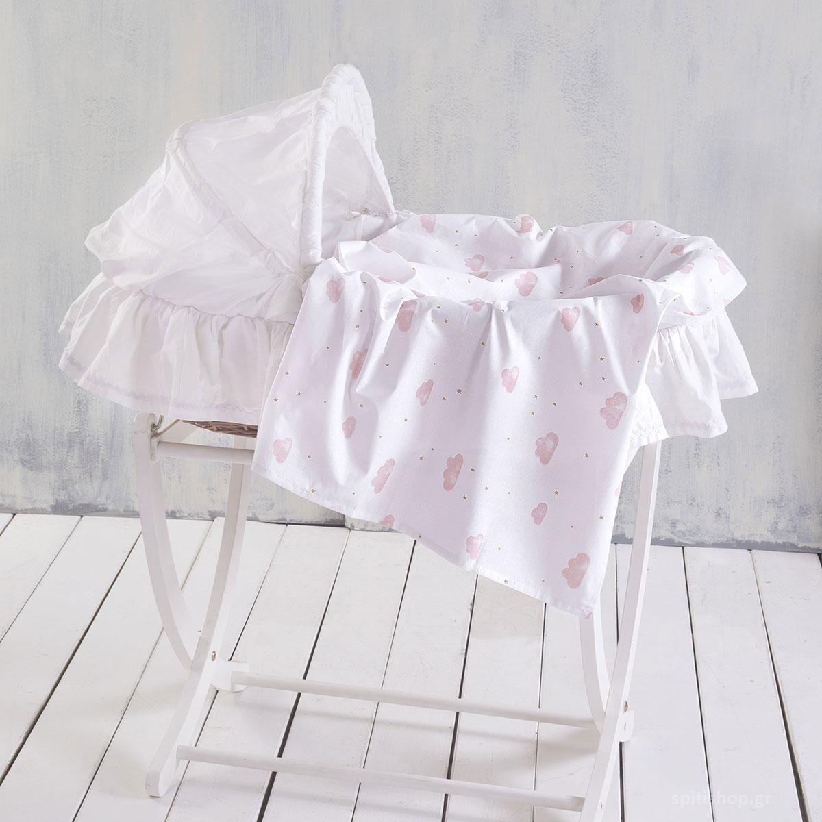 Σεντόνι Λίκνου Rythmos Baby Clouds Pink
