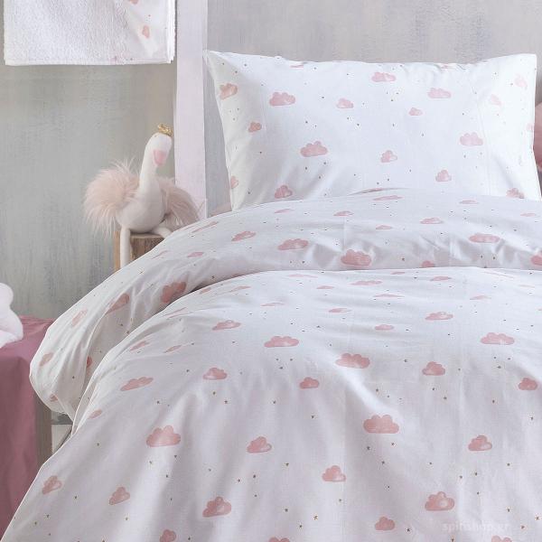 Ζεύγος Παιδικές Μαξιλαροθήκες Rythmos Symbol Clouds Pink