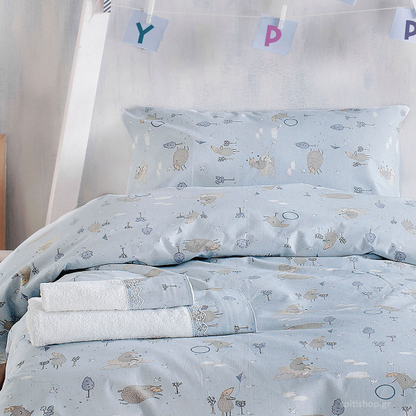 Ζεύγος Παιδικές Μαξιλαροθήκες Rythmos Symbol Land Blue