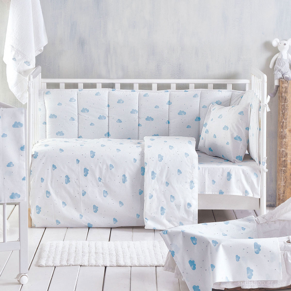 Παπλωματοθήκη Κούνιας (Σετ) Rythmos Baby Clouds Blue