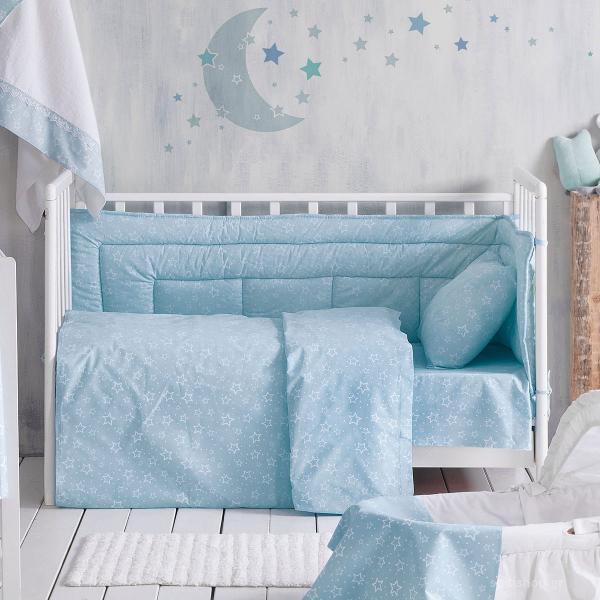 Παπλωματοθήκη Κούνιας (Σετ) Rythmos Baby Bright Blue