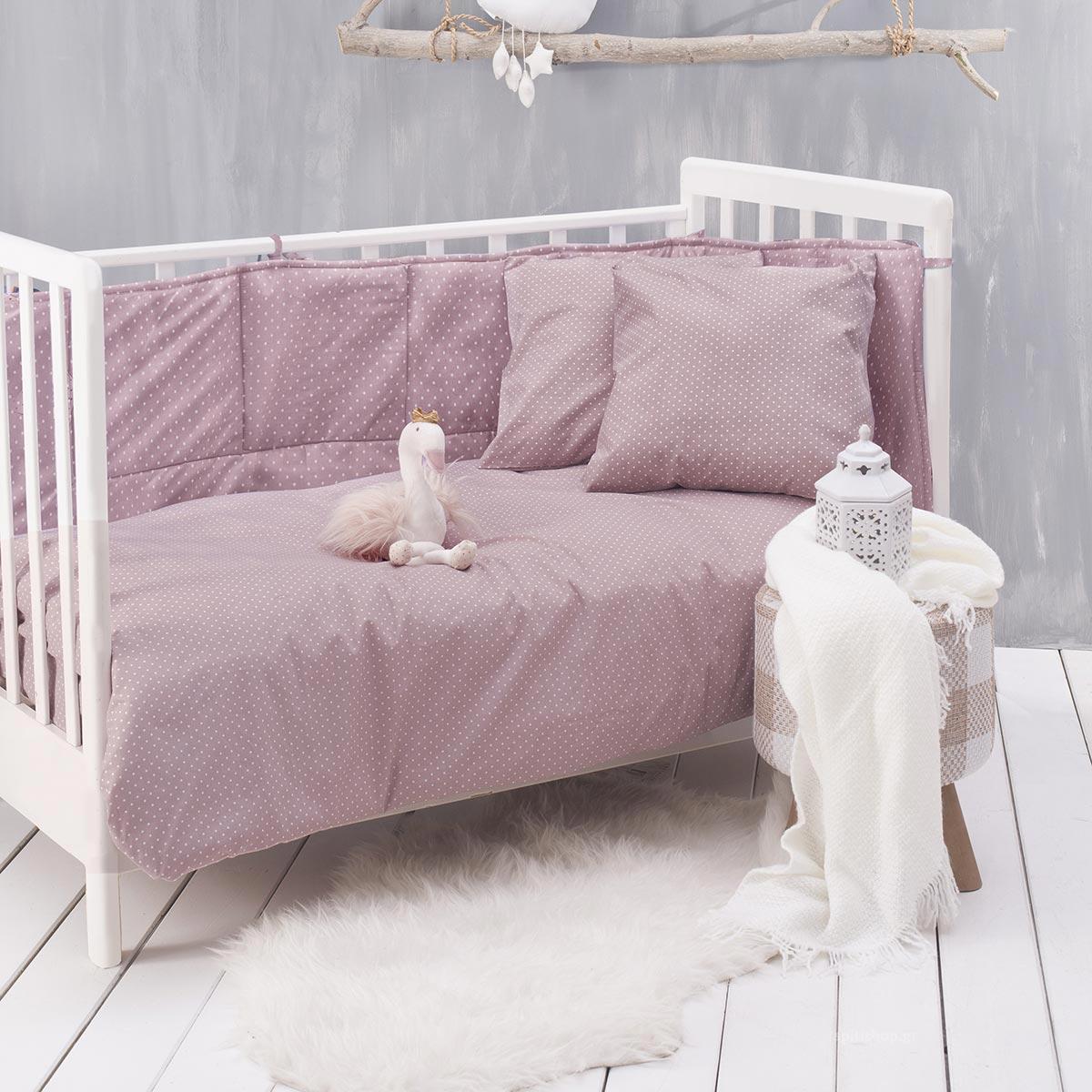 Πάπλωμα Κούνιας Rythmos Baby Dotty Pink