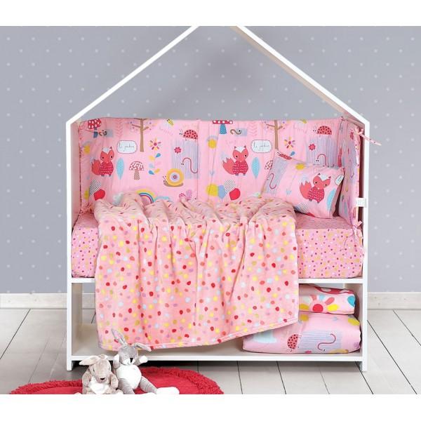 Κουβέρτα Fleece Κούνιας Nef-Nef Baby My Garden Pink