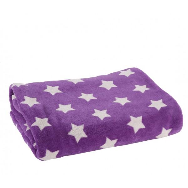 Κουβέρτα Fleece Μονή Nef-Nef Night Stars Purple