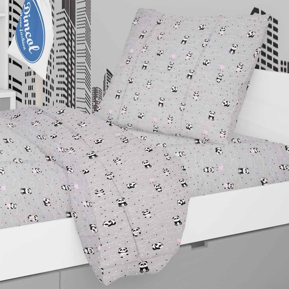 Παπλωματοθήκη Μονή Dimcol Panda 113 Grey-Pink