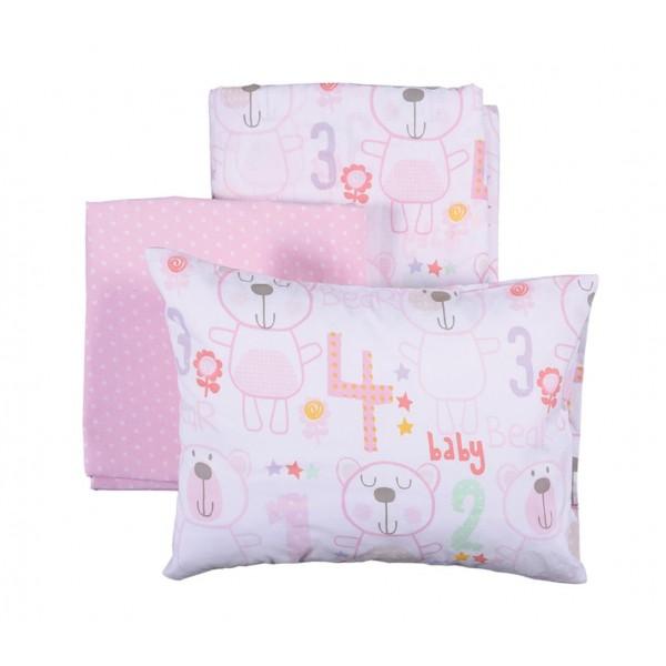 Σεντόνια Κούνιας (Σετ) Nef-Nef Baby Bears Pink