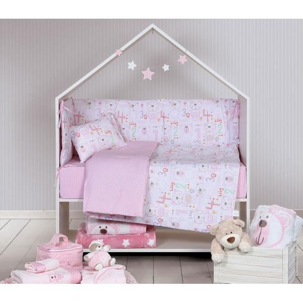 Παπλωματοθήκη Κούνιας (Σετ) Nef-Nef Baby Bears Pink