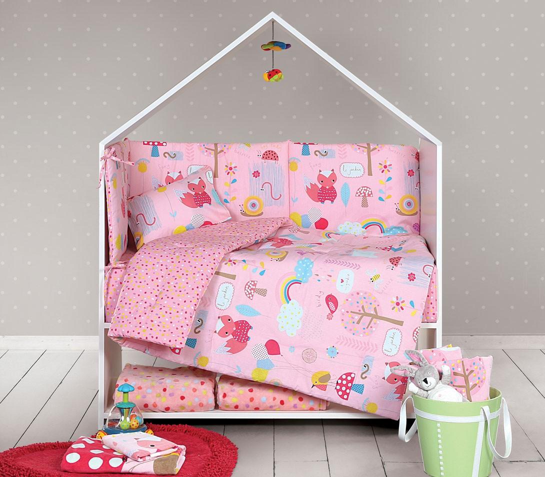 Παπλωματοθήκη Κούνιας (Σετ) Nef-Nef Baby My Garden Pink