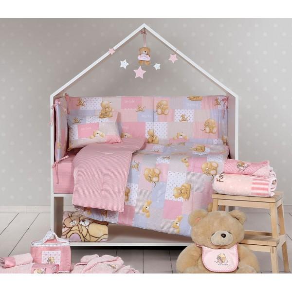 Παπλωματοθήκη Κούνιας (Σετ) Nef-Nef Baby FF Big Hugs Pink