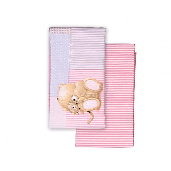 Σεντόνια Λίκνου (Σετ) Nef-Nef Baby FF Big Hugs Pink