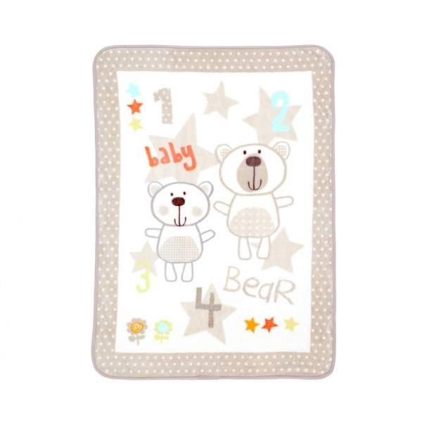 Κουβέρτα Βελουτέ Αγκαλιάς Nef-Nef Baby Bears Ecru