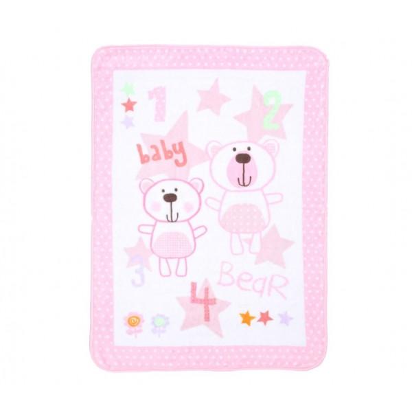 Κουβέρτα Βελουτέ Αγκαλιάς Nef-Nef Baby Bears Pink