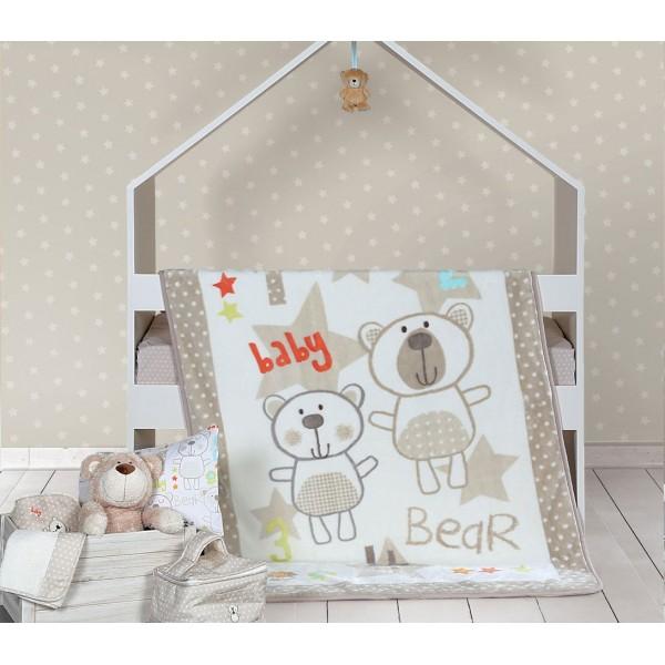 Κουβέρτα Βελουτέ Κούνιας Nef-Nef Baby Bears Ecru